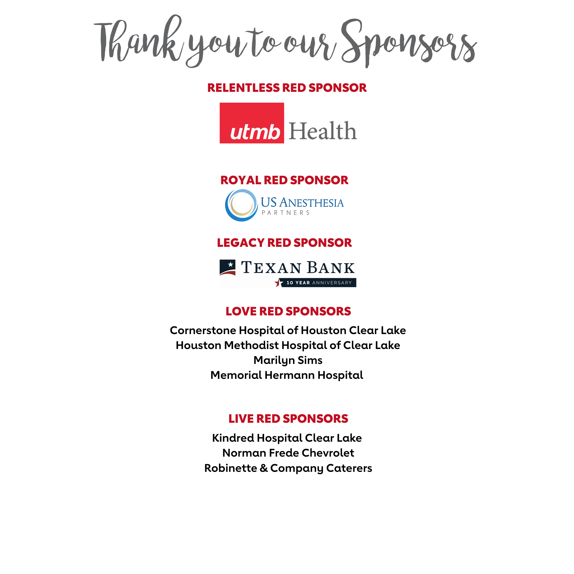 Thank you to our sponsrs